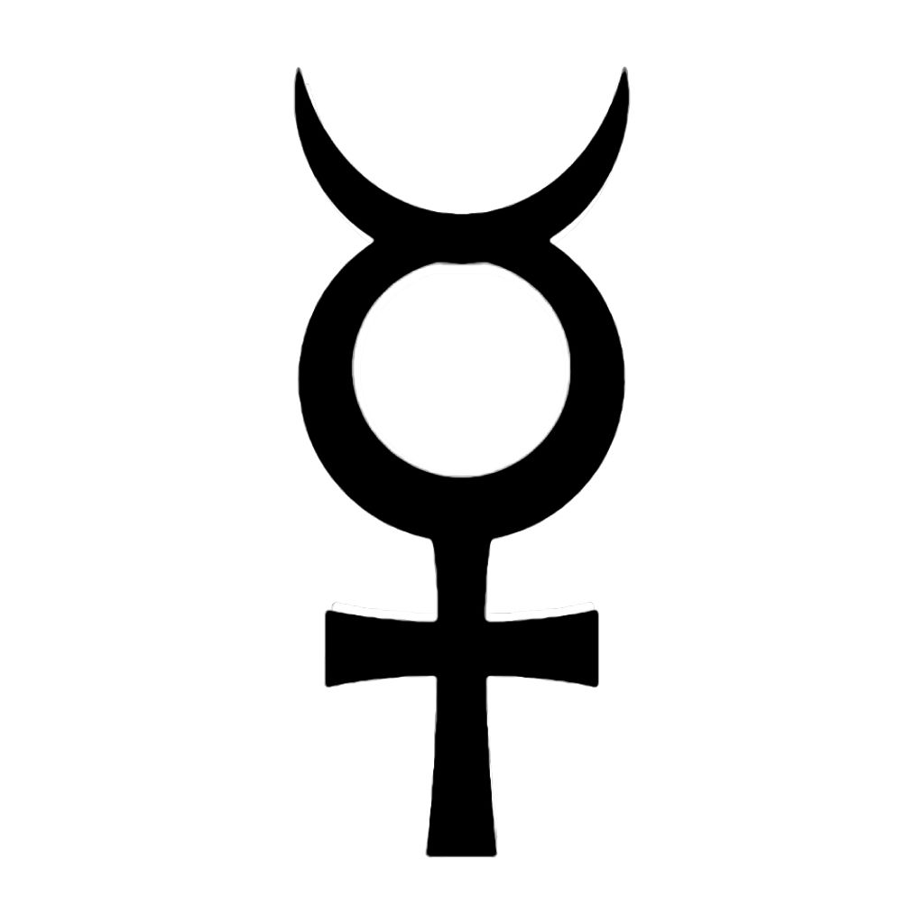 MERCURY Symbol Vinyl Decal Occult Alchemy symbols
