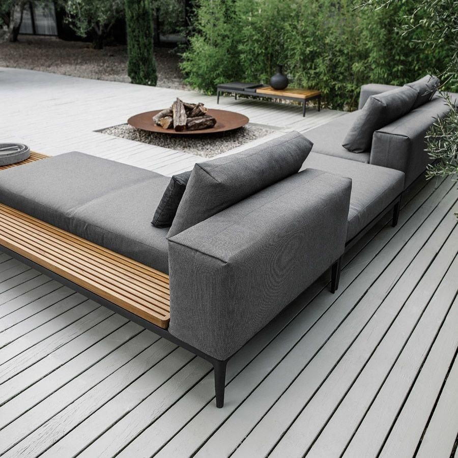 Gloster Grid Left Chaise Unit In 2021 Gloster Furniture Outdoor Sofa Outdoor Lounge