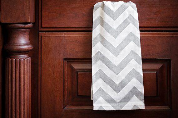 Grey Chevron Kitchen Hand Towel by ThePreppyOwlBoutique on Etsy, $7.99