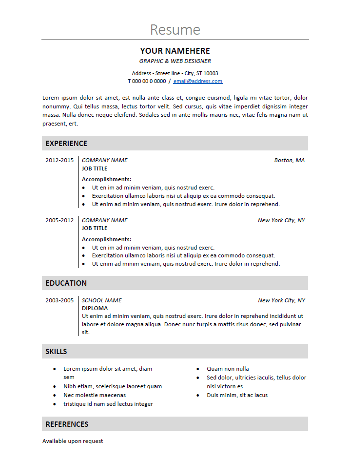 Resume Template Ms Word Free Classic And Elegant Resume Template For Ms Word Docx  Cv