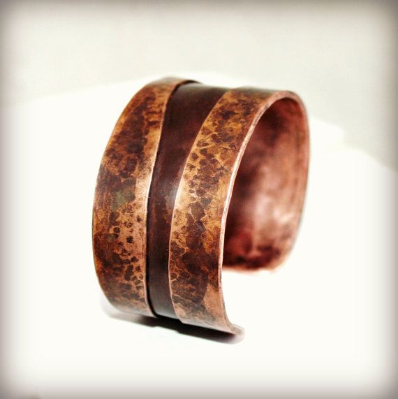 Copper Cuff Bracelet Double Folded And By Hardweardesigns On Etsy
