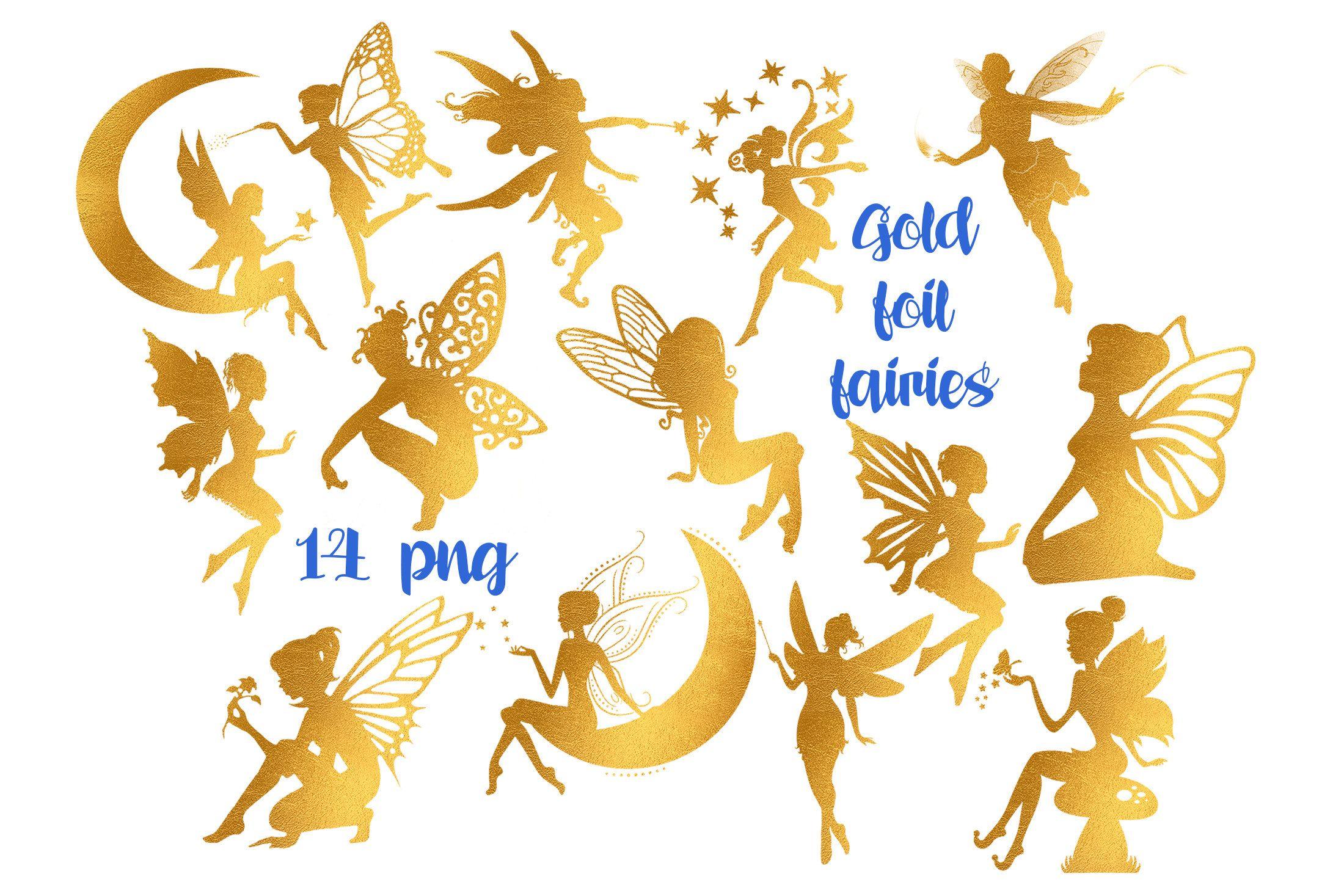 Fairy gold. Digital clipart foil fairies