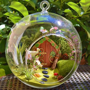 Hobbit House Terrarium / Fairy Garden With Birdbath ~ Wooden Door ~ Green  Lichen Moss ~