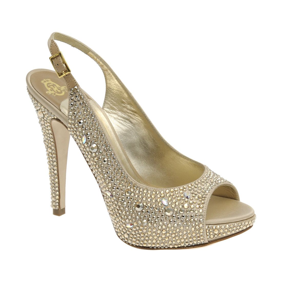c6e9dd4c3e6 A beautiful camel satin slingback fully encrusted with Swarovski  Golden   diamante complimented with 115mm stiletto heel and platform.