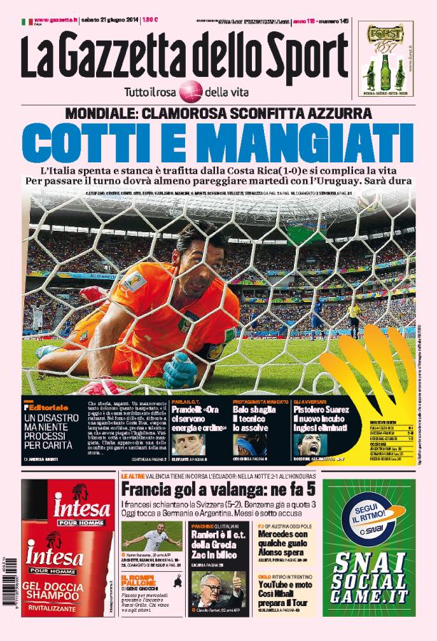 """La Gazzetta dello Sport (Italy) """"Cotti e Mangiati"""