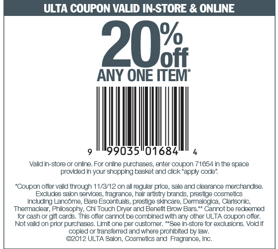 20 Off A Single Item At Ulta Or Online Via Checkout Promo 71654 Coupon Via The Coupons App Ulta Coupon Ulta Shopping Coupons