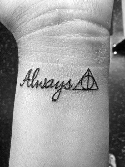 Harry Potter Always Deathly Hallows Tattoo Wrist Design Tatouages Harry Potter Modele Tatouage Tatouage