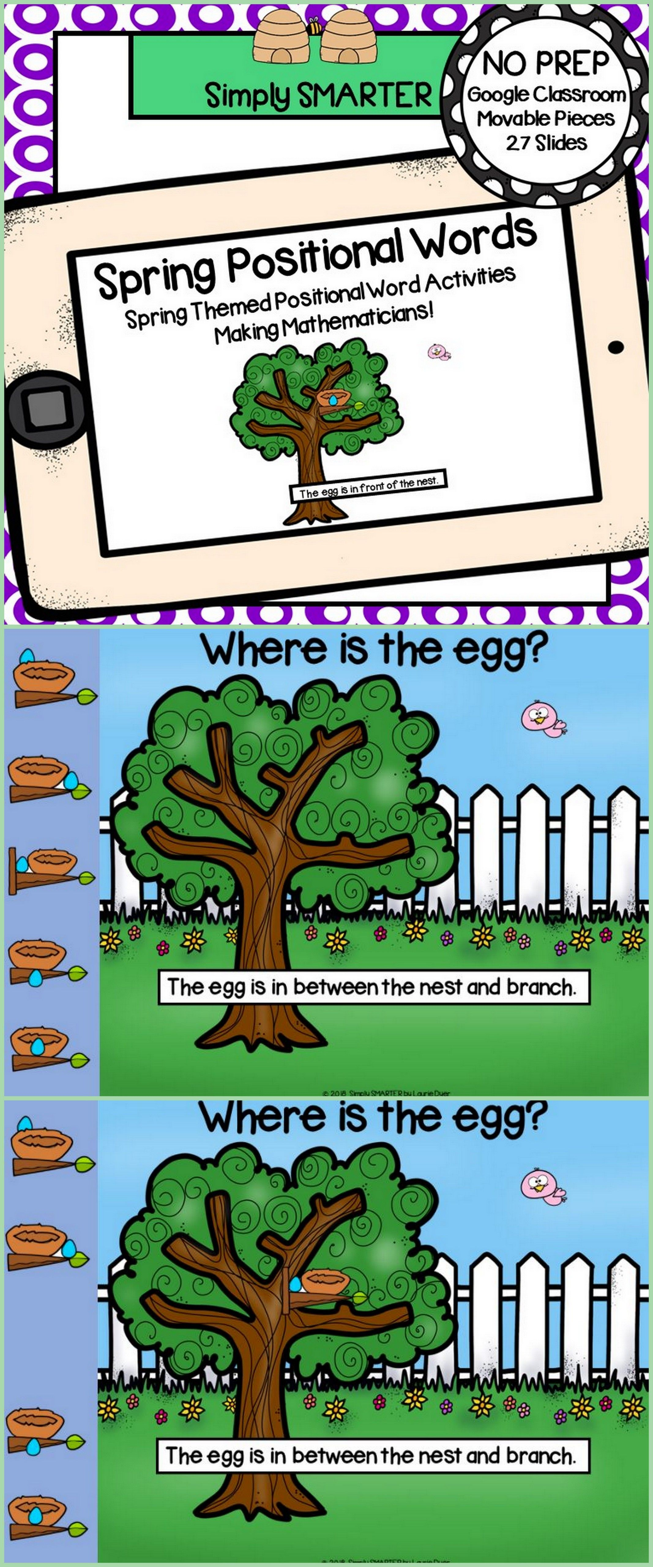 Spring Themed Positional Word Activities For