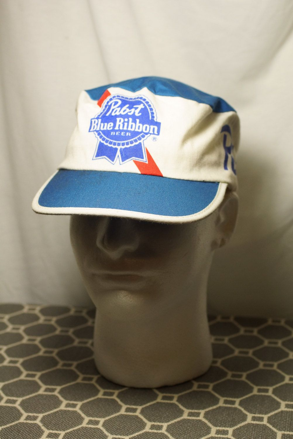 3c6b35821a Rare Vintage Pabst Blue Ribbon Beer Painters Cap Hat by EclectikVintageCo  on Etsy