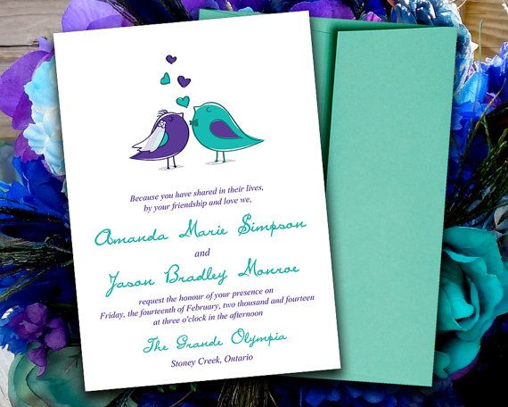 DIY Wedding Invitation Template Love Birds Bride Groom Regency - download invitation card