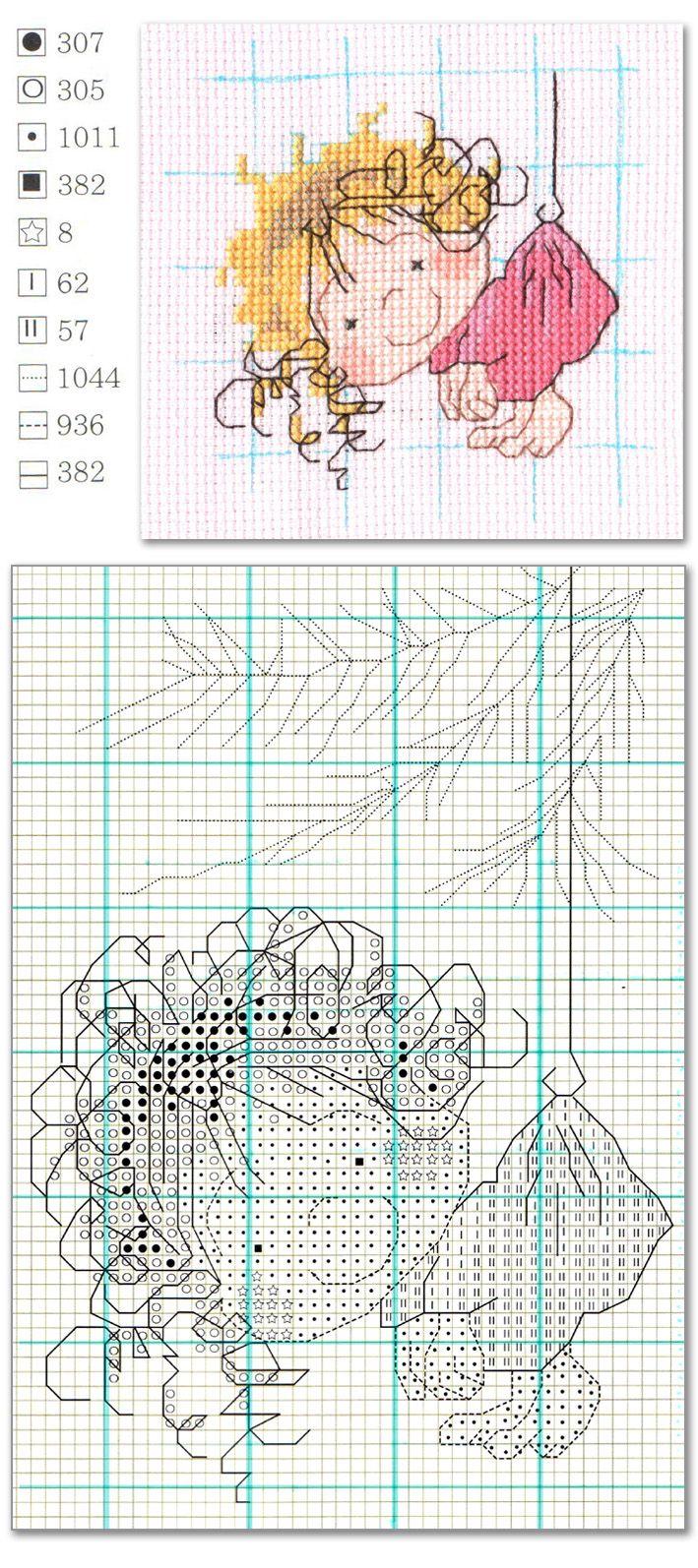 Cross Stitch cute girl | Punto de cruz | Pinterest | Punto de cruz ...