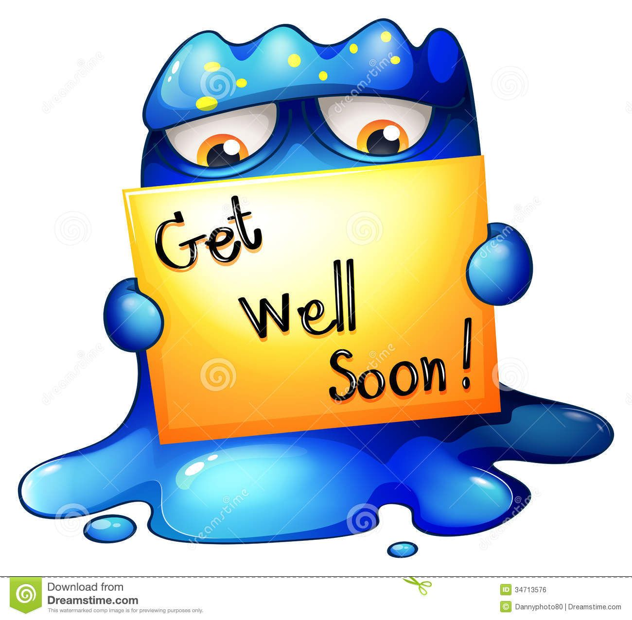 A Blue Monster Holding A Get Well Soon Card Card Illustration Get Well Soon Happy Birthday Images