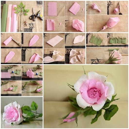 DIY Beautiful Pink Crepe Paper Rose