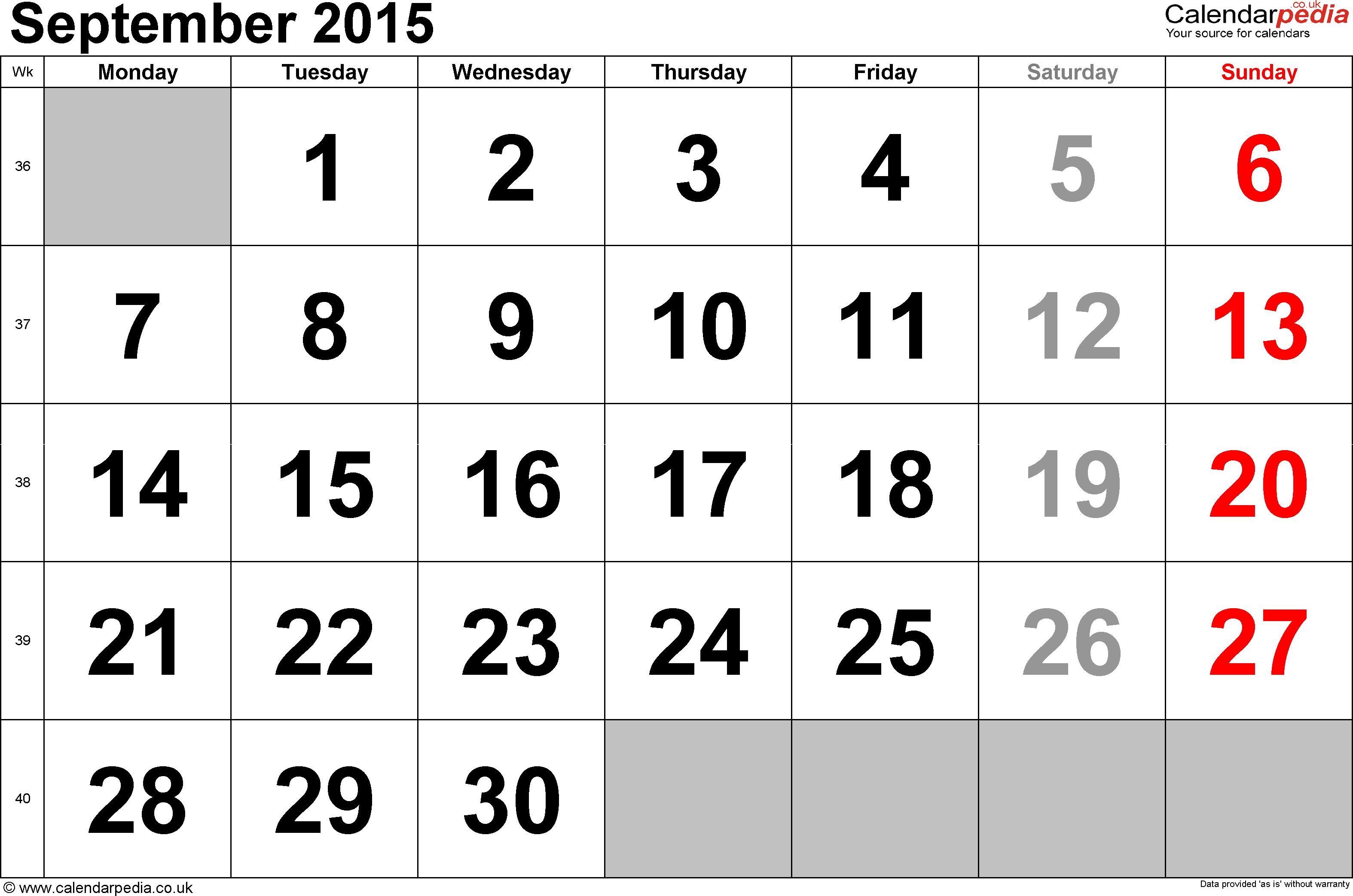 Cute September 2015 Calendar Printable And Templates September 2015 Calendar August Calendar Monthly Calendar Template November Calendar