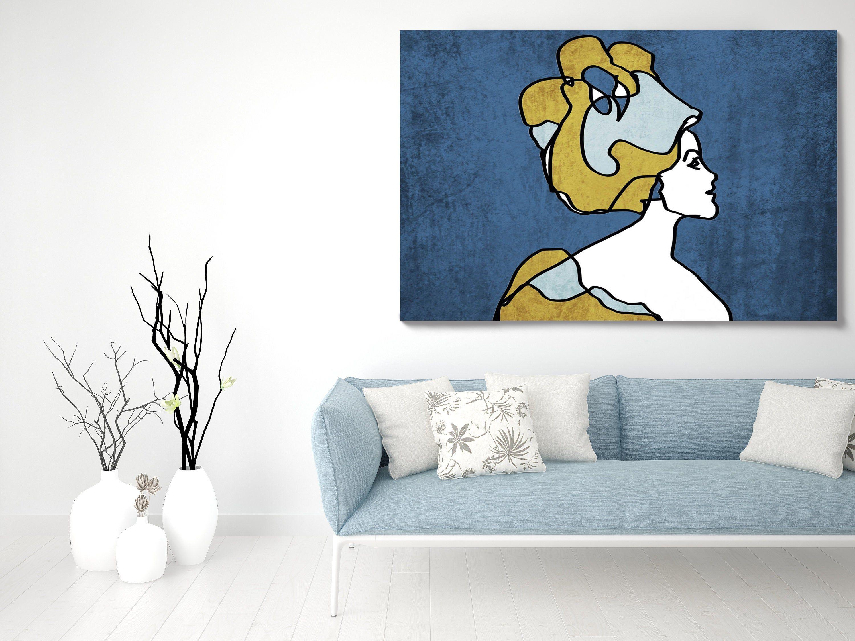 Woman Face Line Art 1 Line Art Modern Blue Gold Canvas Art Etsy Gold Canvas Canvas Art Prints Contemporary Art Canvas