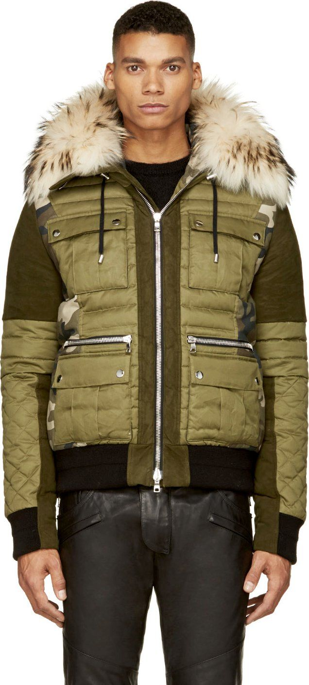 classic shoes buy online official store Balmain Green Fur-Trimmed Hooded Jacket in 2019   Jackets ...