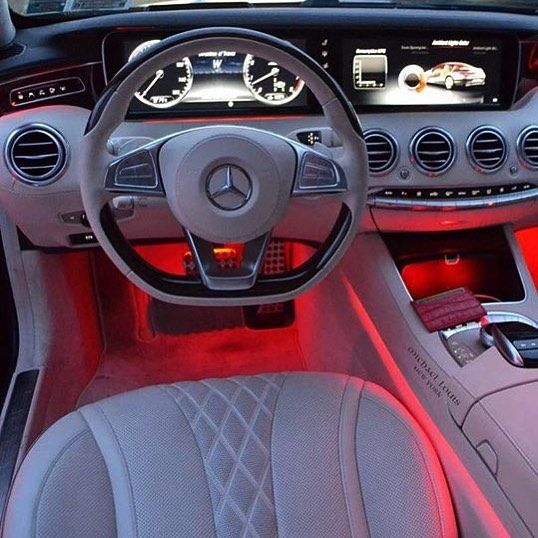 A Beautiful Mercedes Benz S Class Interior With Red Lighting Tag
