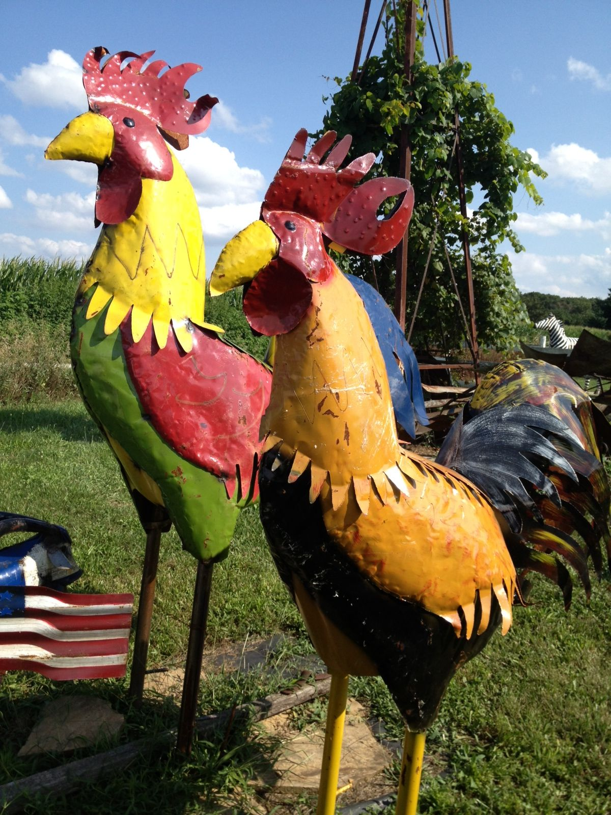 Metal Rooster Yard Art Sculpture