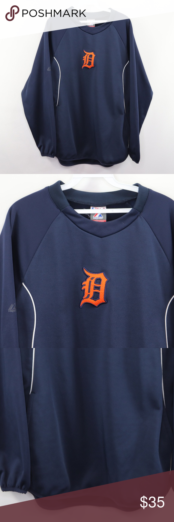 Majestic Detroit Tigers Therma Base Sweatshirt M Sweatshirts Sweaters Crewneck Crew Neck Sweatshirt [ 1740 x 580 Pixel ]