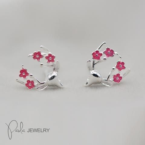 6ed8b50a822e4 Silver Earring Floral Reindeer Studs Christmas Gift Jewelry ...