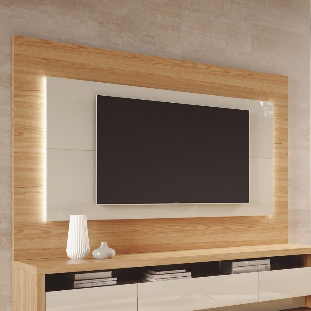 "Manhattan Comfort 252451 - Sylvan 70.86"" TV Panel w/ LED Lights in Nature Wood & Off White"