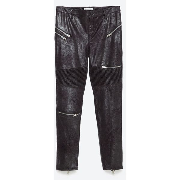 Zara Faux Suede Biker Trousers (90 CAD) ❤ liked on Polyvore featuring pants, black, black trousers, black biker pants, black pants, bike pants and zara pants