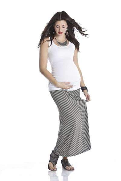 Maxi Skirt Olive/Grey Stripe-