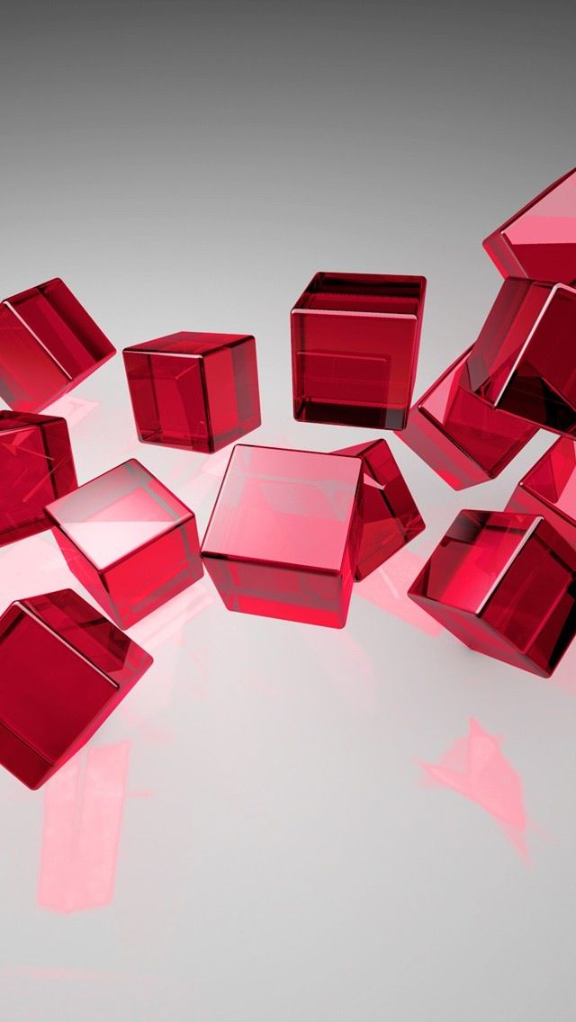 Tap And Get The Free App Minimalistic 3d Cube Geometric Grey Red Hd