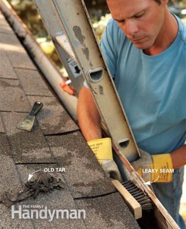 Gutter Repair: Clean the gutter. Read more: http://www.familyhandyman.com/roof/gutter-repair/gutter-repair-fix-leaky-metal-gutters/view-all