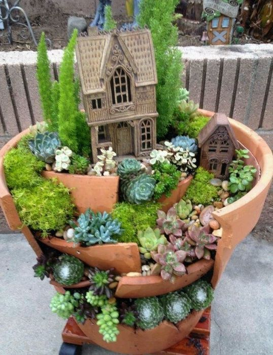 What a great way to repurpose a broken pot fairy houses for Fairy garden pot ideas