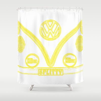 VW Splitty Yellow Shower Curtain - $68.00 #showercurtain #shower #bathroom…