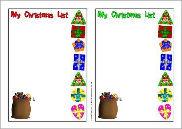Christmas writing frames framess christmas list writing frames sb3249 sparklebox spiritdancerdesigns Images