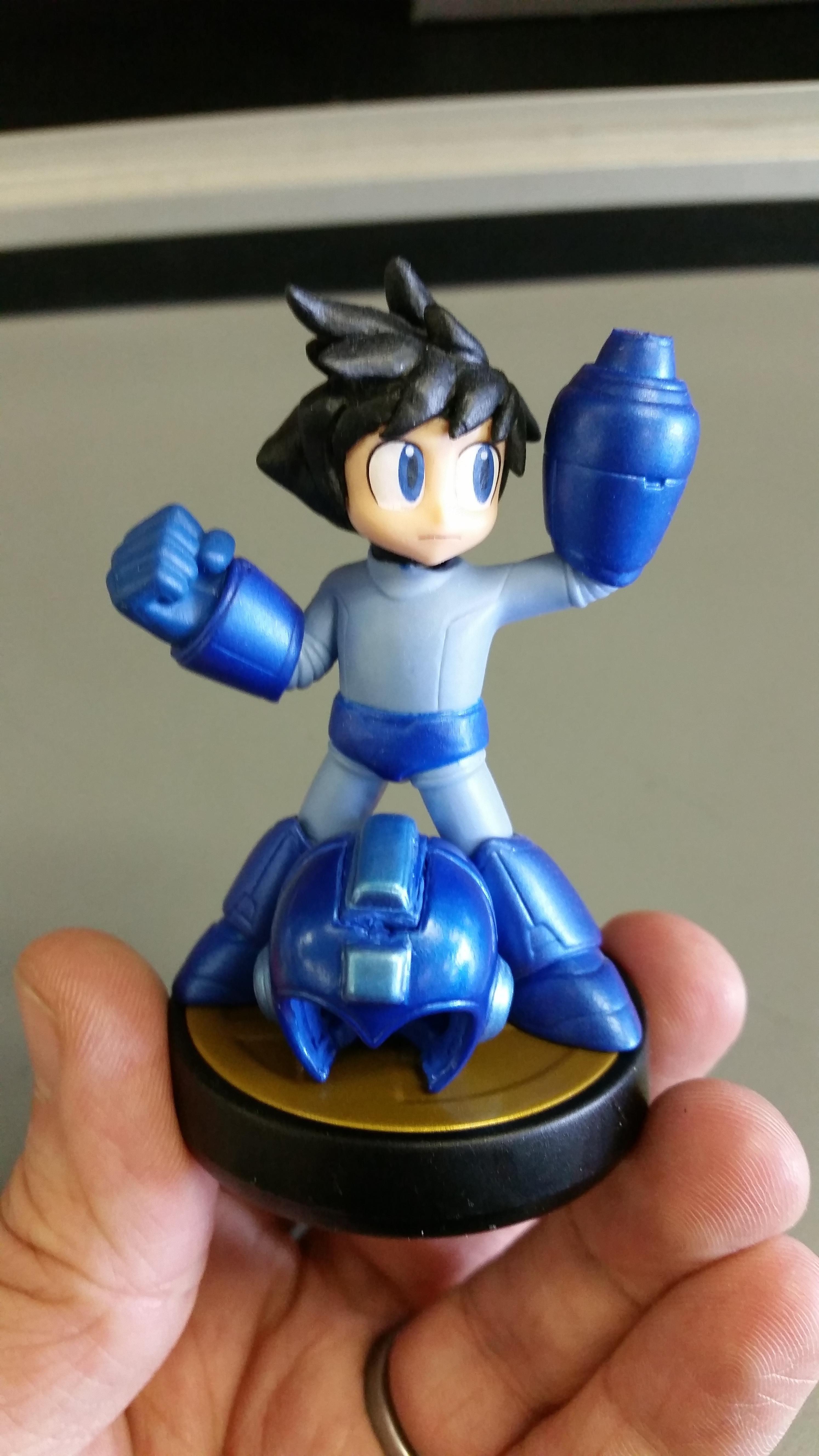 0d5b4430b Custom Helmetless Mega Man Amiibo | Amiibo | Mega man, Video games ...