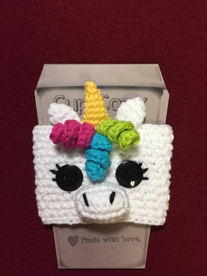Unicorn Crochet Cup Cozy Koozie Koozy Coffee Sleeve Starbucks