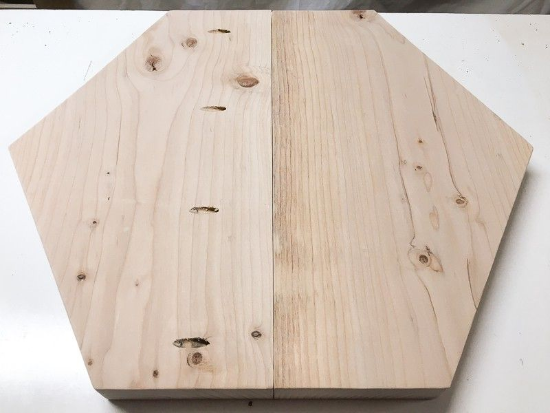 Drill Pocket Holes Along Center Seam Of Hexagon Side Table Top. Glue And  Screw With