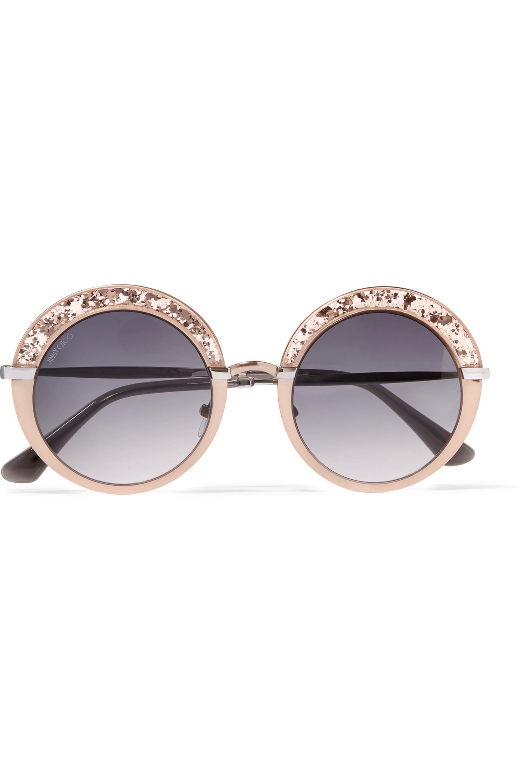 ec4a48cd7f48 Gotha S round-frame glittered acetate and gold-tone sunglasses ...