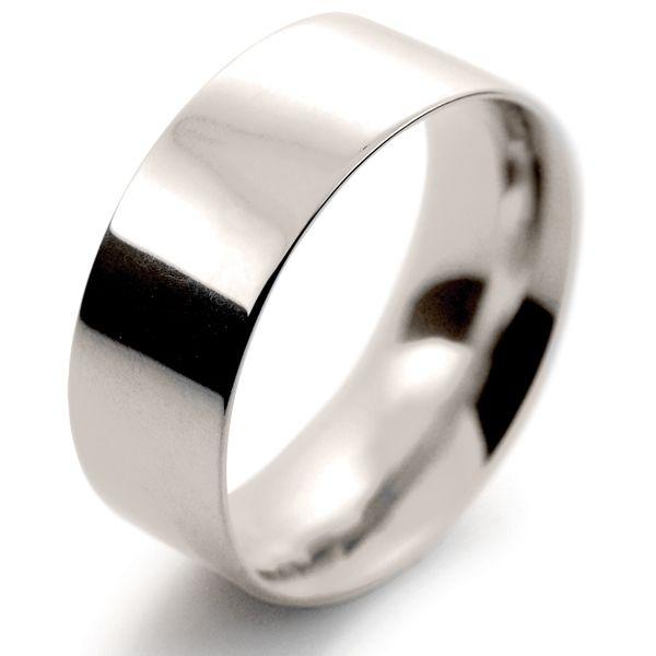 9ct White Gold Wedding Ring Medium Flat Court - 8mm