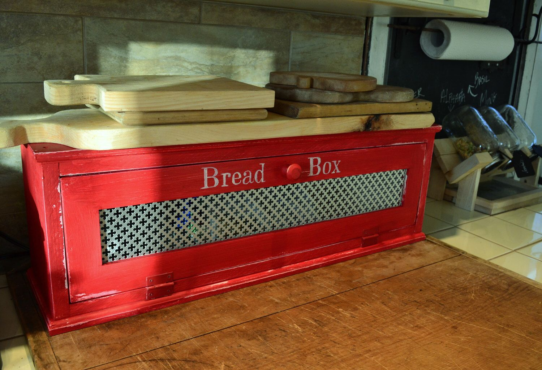 Wood Bread Box , Distressed Finish , Farmhouse Style