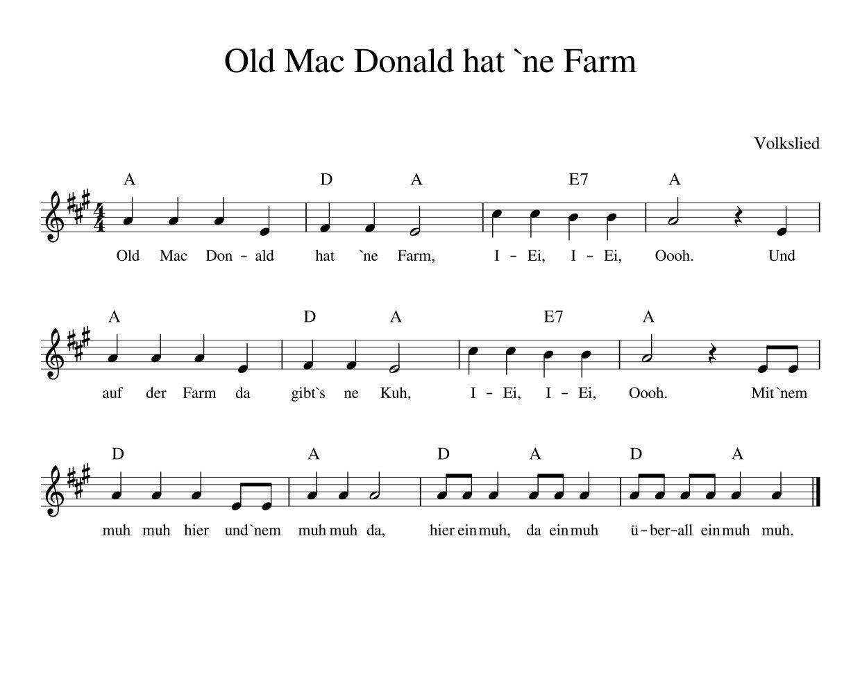 Old Mac Donald hat `ne Farm deutsches Kinderlied mit Noten ...