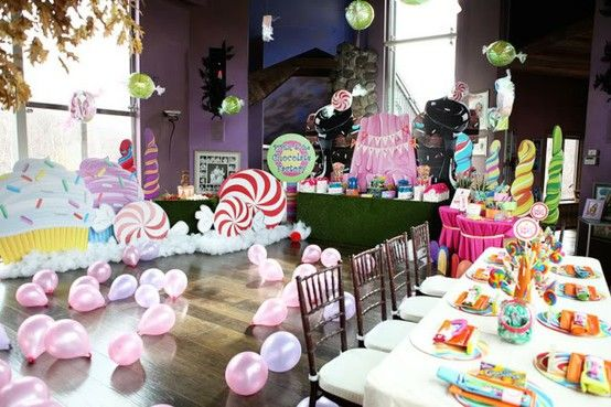 Tons and TONS of party ideas (including Willy Wonka, Candyland AND Alice in Wonderland themes!!!)