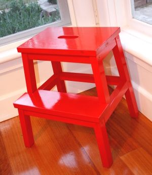 Some Dulux spray paint in Volcano Orange and I'm very impressed with my glossy little kitchen accessory/ extra chair.