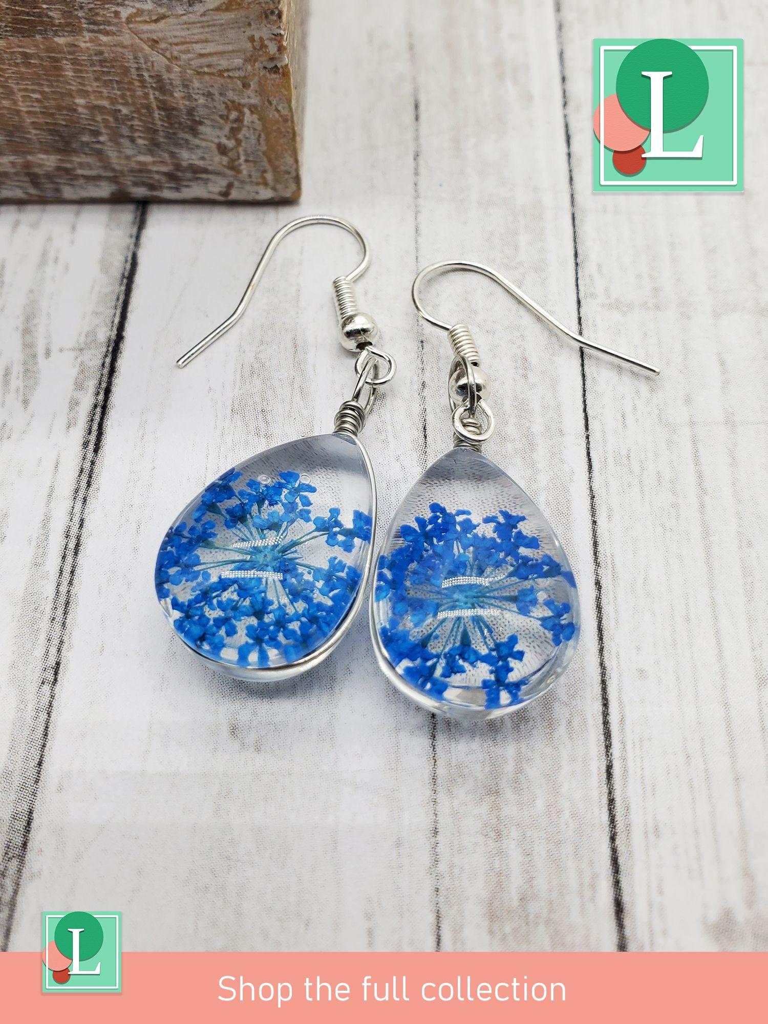 silver earrings floral jewellery floral earrings Earrings dried flower earrings jewelry