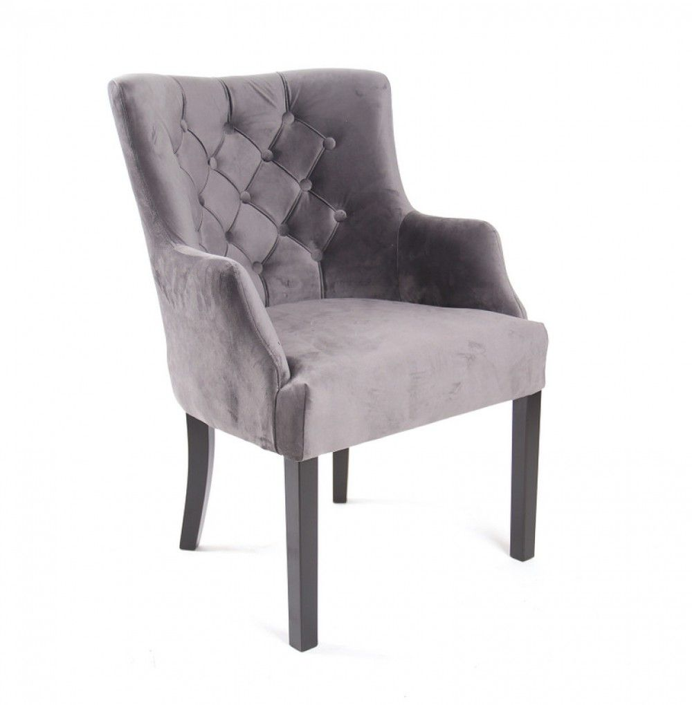 Sessel Chesterfield Gepolsterter Stuhl Sessel Velour Grau Stuhl Polstern Haus Deko Sessel