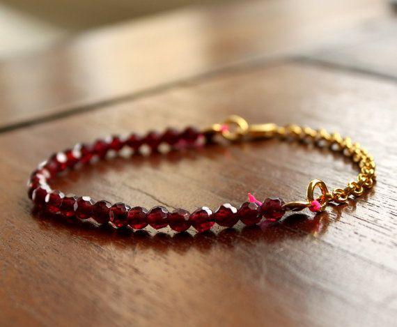 Red Garnet Bracelet Delicate Sparkling Gemstone Gold Plated Handmade Jewelry