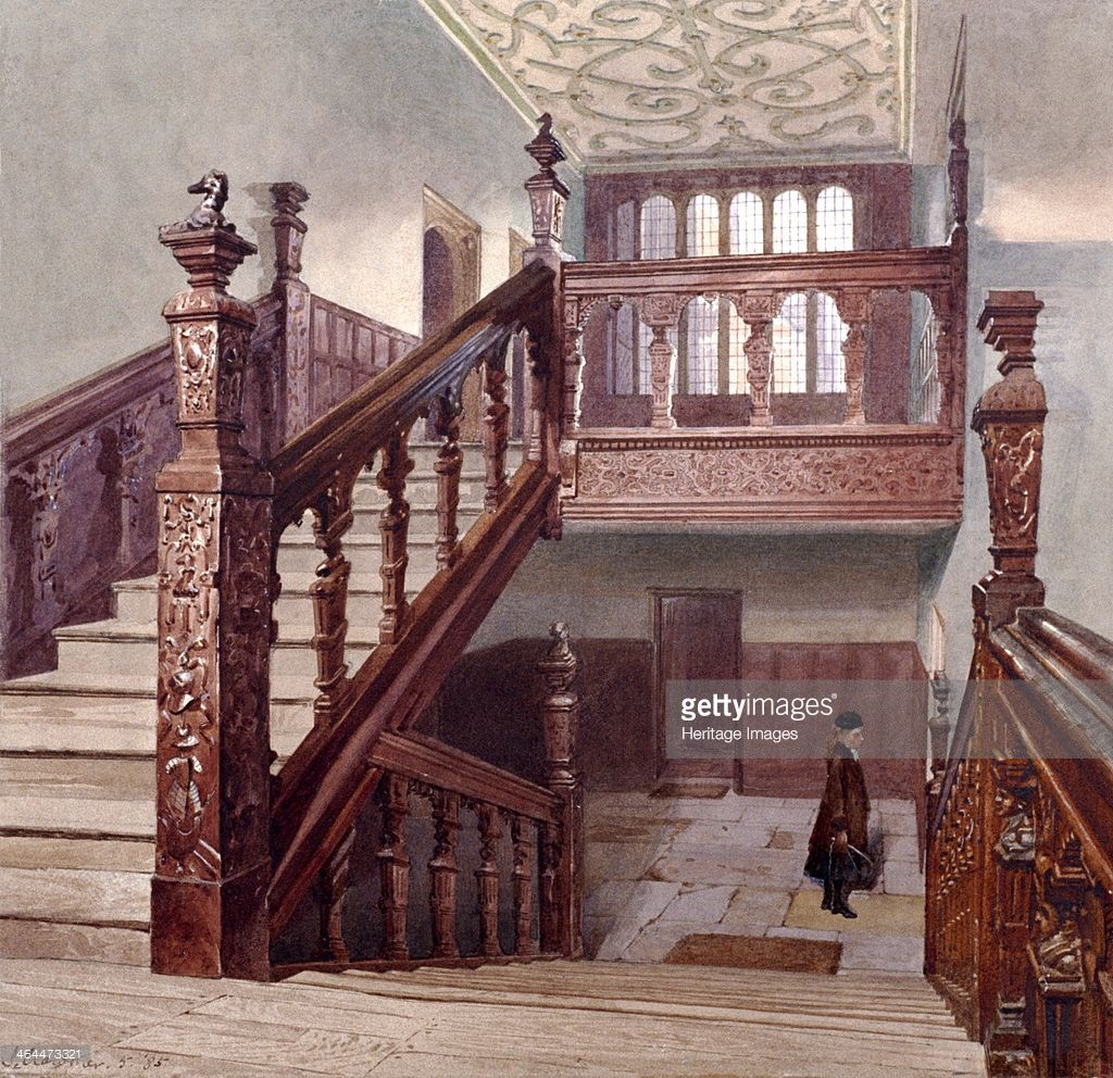 Charterhouse, London, 1885. Artist: John Crowther | Grand staircase ...