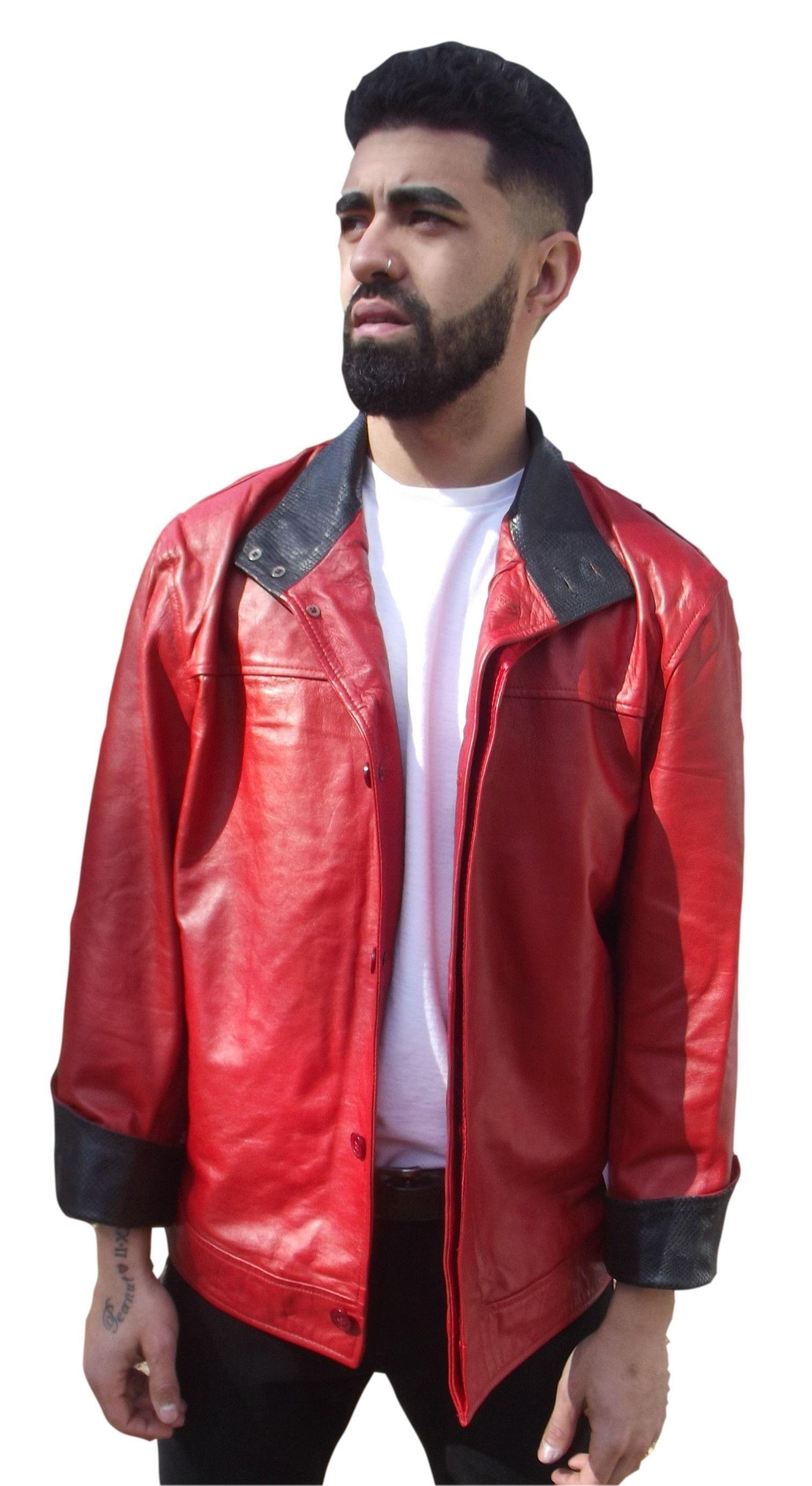 Mens Leather Jacket Red flip cuff Snakeskin embossed inner