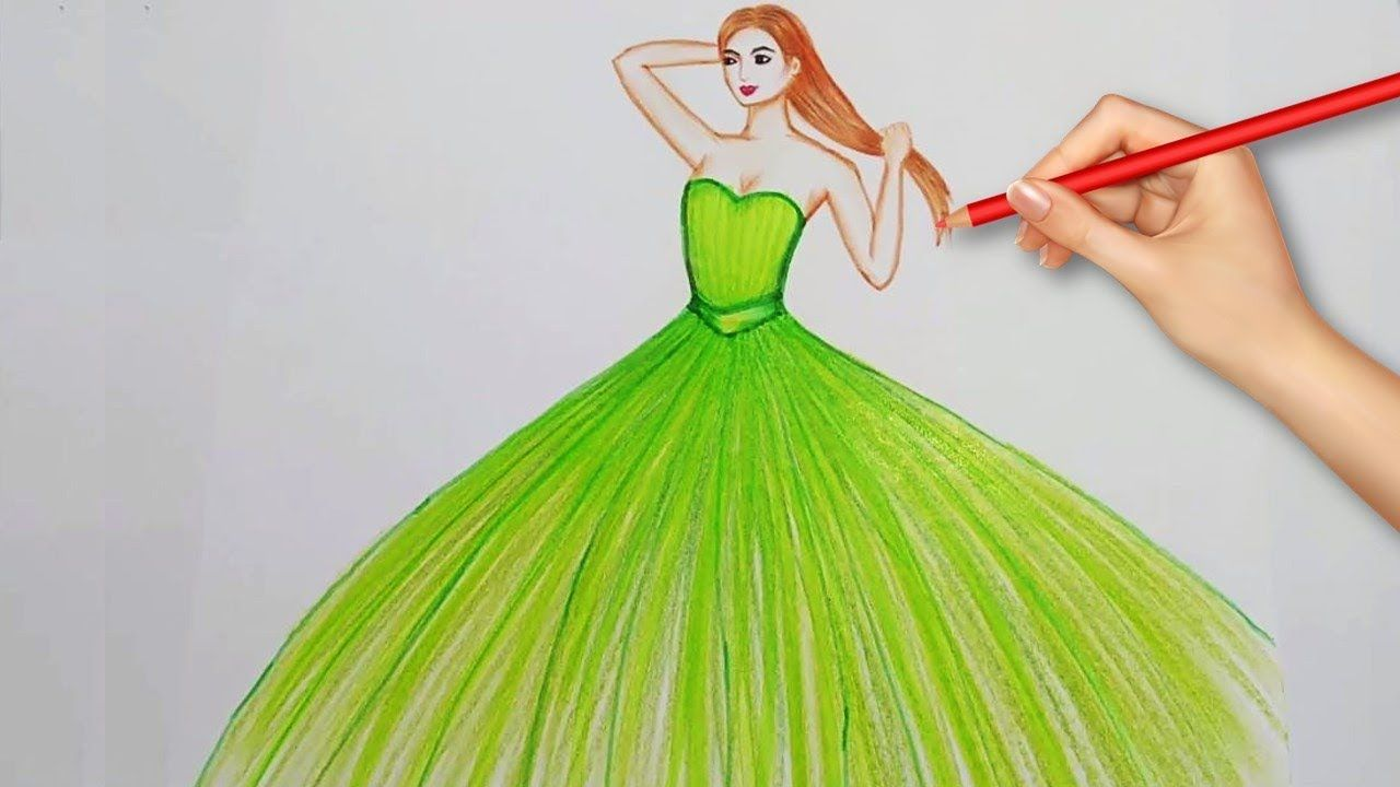 Easy Drawings How To Draw A Beautiful Dress Easy Drawings Pencil Drawings Easy Fashion Illustration Dresses