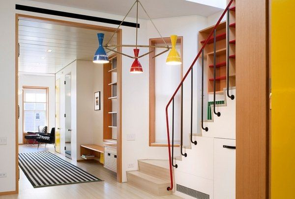 metal stair railing ideas color accent blue green red hallway decoration ideas