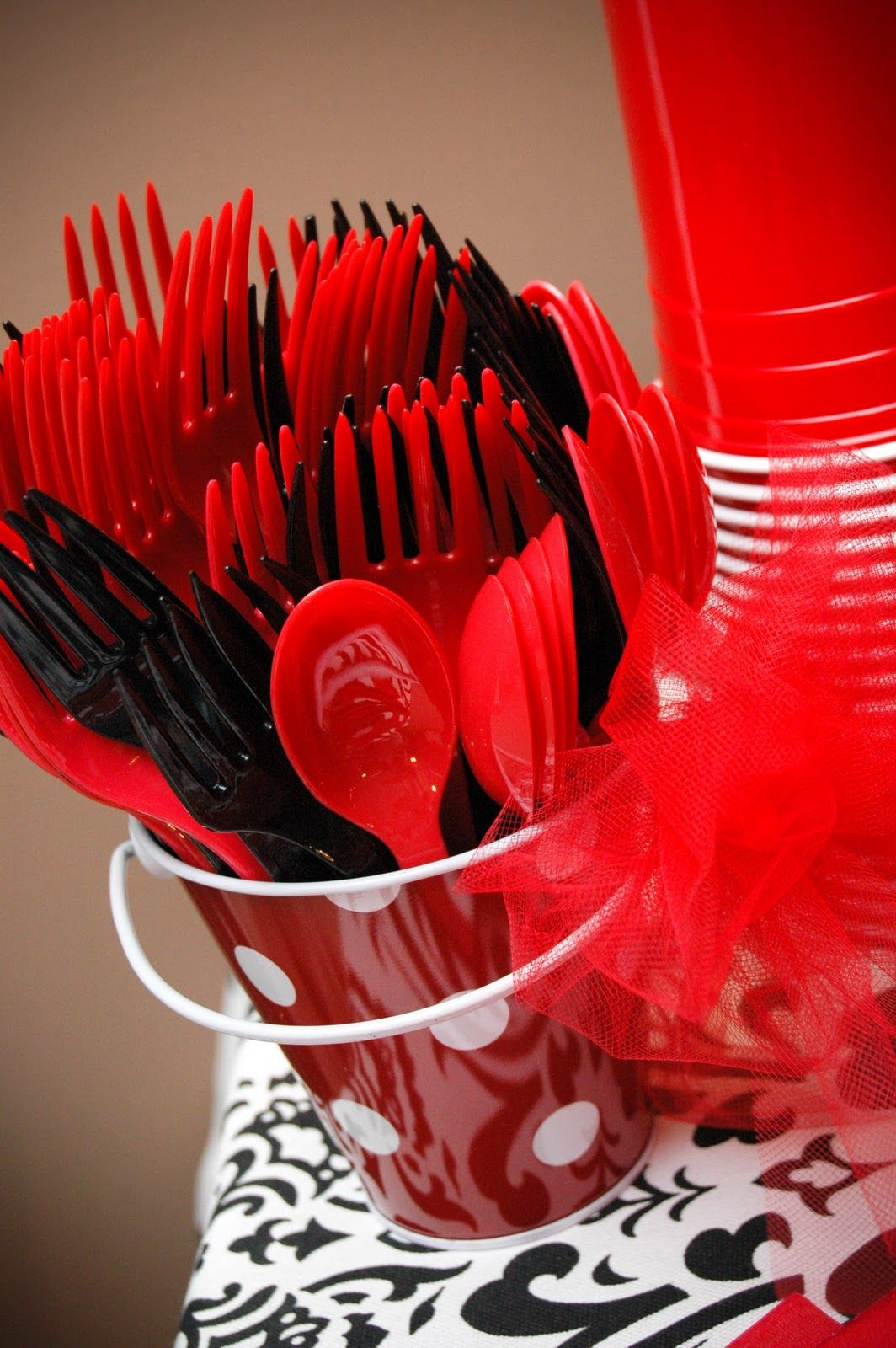 red and black plastic ware...for a party