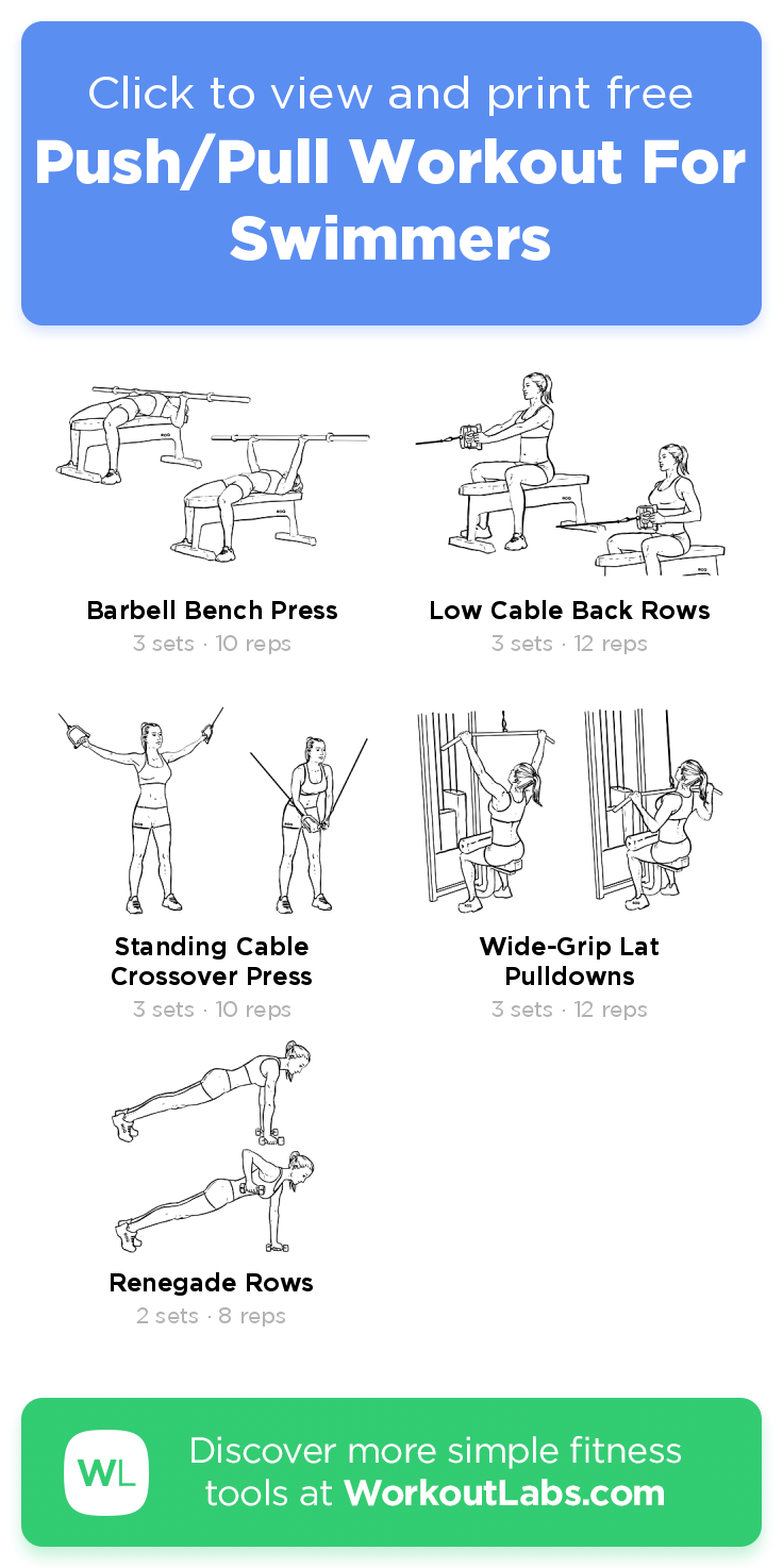 Push Pull Workout For Swimmers Click To View And Print This Illustrated Exercise Plan Created With W Workouts For Swimmers Push Pull Workout Dryland Workout